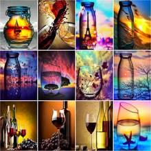 RUOPOTY 5D DIY Diamond Painting Sunset Wine Glass Bottle Kits For Cross Stitch Diamond Embroidery Landscape Seaside Handmade Gif