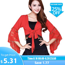 Hot Sale Belly Dance Butterfly Sleeve Lace Wrap Top Of The India Bollywood Girl Top For Christmas For Girls 4XL(China)