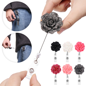 1PC Creative Resin Rose Shape Retractable Nurse Badge Doctor ID Card Badge Holder Anti-Lost Clip Key Ring Lanyards Office Supply