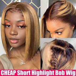 CHEAP Bob Wig Colored Highlight Wig Human Hair Transparent Ombre Straight Lace Front Wig T Part Bone Striaght Human Hair Wigs