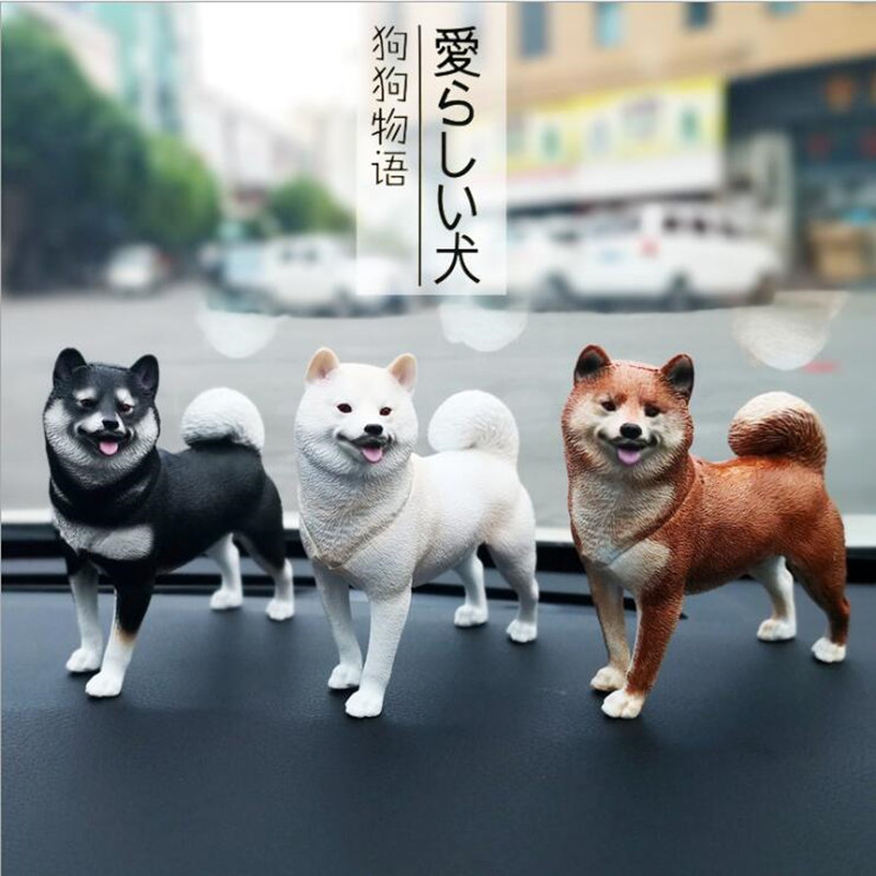 3PCS Resin Car Decoration Dog Dolls for Shiba Inu Akita Creative Ornaments Heroes Toys Car Interior Accessories Ornaments