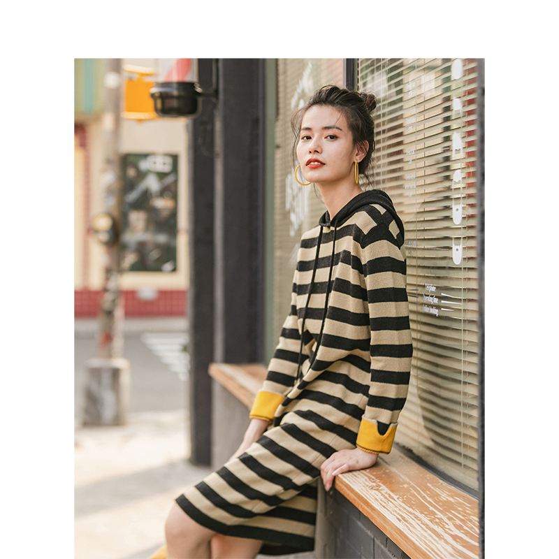 INMAN Spring Autumn New Arrival Hooded Contrast Color Stripe Straight Fashion Leisure Knitwear Dress