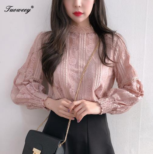 2019 Women Blouse Hollow Out Sexy Lace Tops Ladies Blusas Femininas Elegante Lantern Sleeve Casual Crochet Lady Blouse Shirt