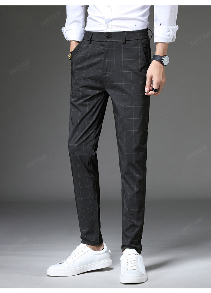 Jantour 2020 Spring New Casual Pants Men Slim Fit Plaid Fashion Gray black Trousers Male Brand Clothing business work pant 28-38 60