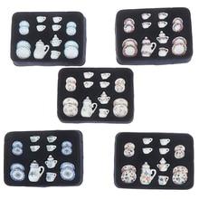 1:12 Miniature 17PCS Porcelain Tea Cup Set Chintz Flower Tableware Kitchen Dollhouse