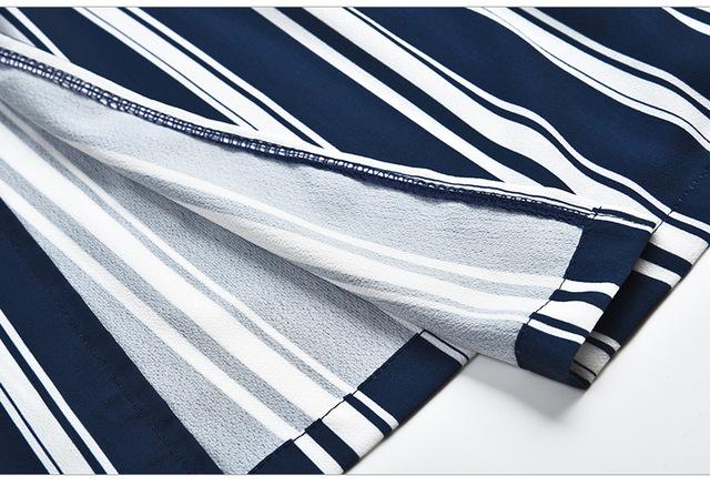 V-neck black and white striped dress