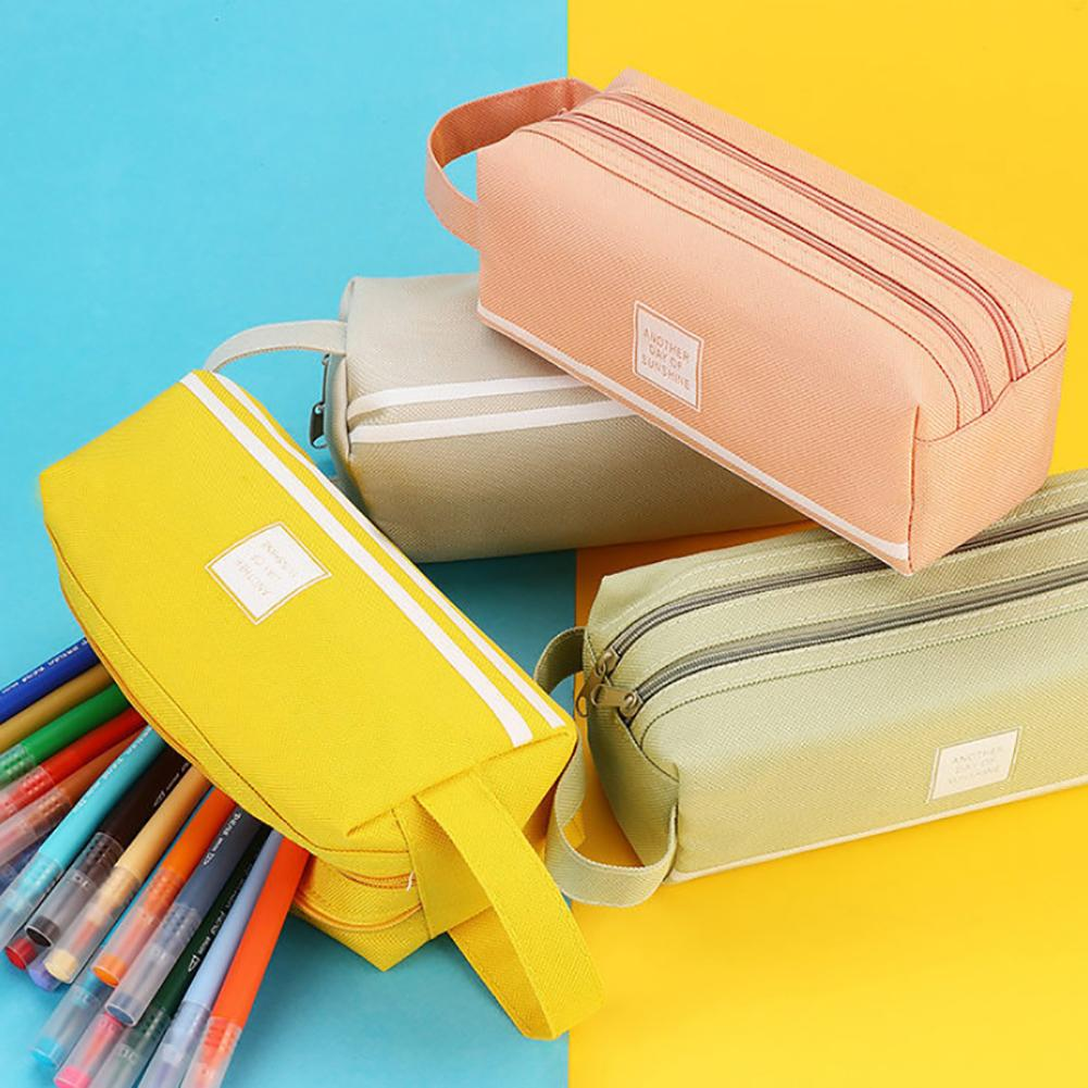 Double Layer Large Capacity Canvas Zipper Pencil Case Kawaii Pen Bag Stationery Storage Pouch School Pencil Case School Supplies