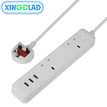 מפצל חשמל 10A עומס יתר מגן 1.8M כבל בריטניה התמזגו תקע מתאם הארכת שולחן העבודה שקע 2 AC פלט 3 USB יציאות