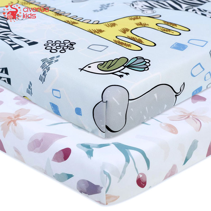 Newborn Baby Fitted Crib Sheets130*70 cm Cartoon Print  Bed Sheet Baby Bed Mattress Covers  for Unisex  Baby Boys Girls 1