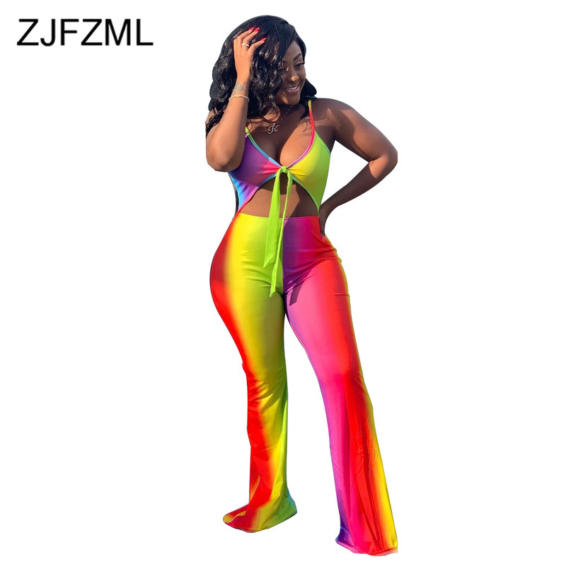 Rainbow Gradient Sexy Wide Leg Jumpsuit Women Spaghetti Strap Backless But-Out Party Bodysuit Summer Deep V Neck Tie Up Playsuit