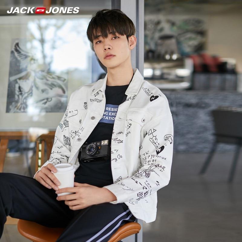JackJones Men's Fashion Streetwear Graffiti Print Denim Jacket Coat| 220157516
