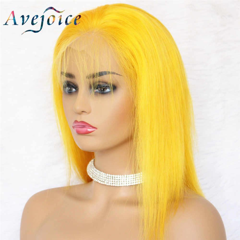 Avejoice, желтый боб, парики на кружеве, человеческие волосы, 13X4, предварительно выщипанные, 613 блонд, синий, красный, серый, зеленый, розовый, Омбре, Парики Для Волос remy