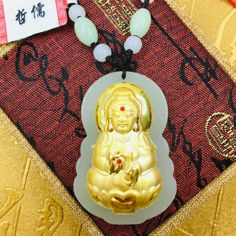 Mengirim Tingkat Sertifikat Sebagian Besar Alami Hetian Giok Bertatahkan 24K Emas Buddha Guanyin Liontin dengan Tangan -Anyaman Kalung