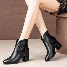 Winter Boots Heel-Shoes Square Zipper Fashion Women Woman Buckle-Strap Decoraction Metal