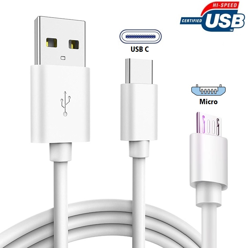 USB Cable Type C/Micro Cable 5ft, 2 In 1 Data And Charging Cable For Mobile Phone, Laptop, Charging Station, Power Bank, Tablet