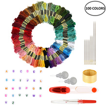100 Colors Embroidery Thread for Cross-Stitch Polyester Cott