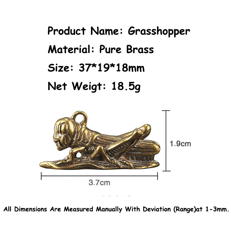 Pure Copper Handmade Grasshopper Key Chain Pendant Luggage Bag Hanging Ornaments Vintage Brass Car Keychain Key Chain Rings Gift Pakistan