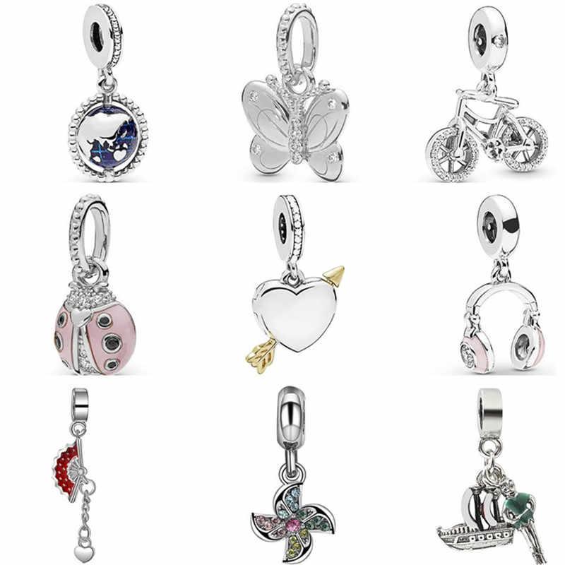 Baru Kedatangan Kristal Kincir Angin Sepeda Kupu-kupu Payung Gajah Hati Mutiara Manik Fit Asli Pandora Charms untuk Wanita Perhiasan