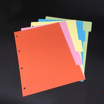 Dzielniki a4 do segregatorów DIY planner separatory kolory notatnik o luźnym liściu klasyfikacja bullet journal Index paper 4 otwory tanie i dobre opinie YJ-SY5-A4 Color Index Page 250g paper A4(29 5*22 3) orange yellow green blue pink 5pcs set
