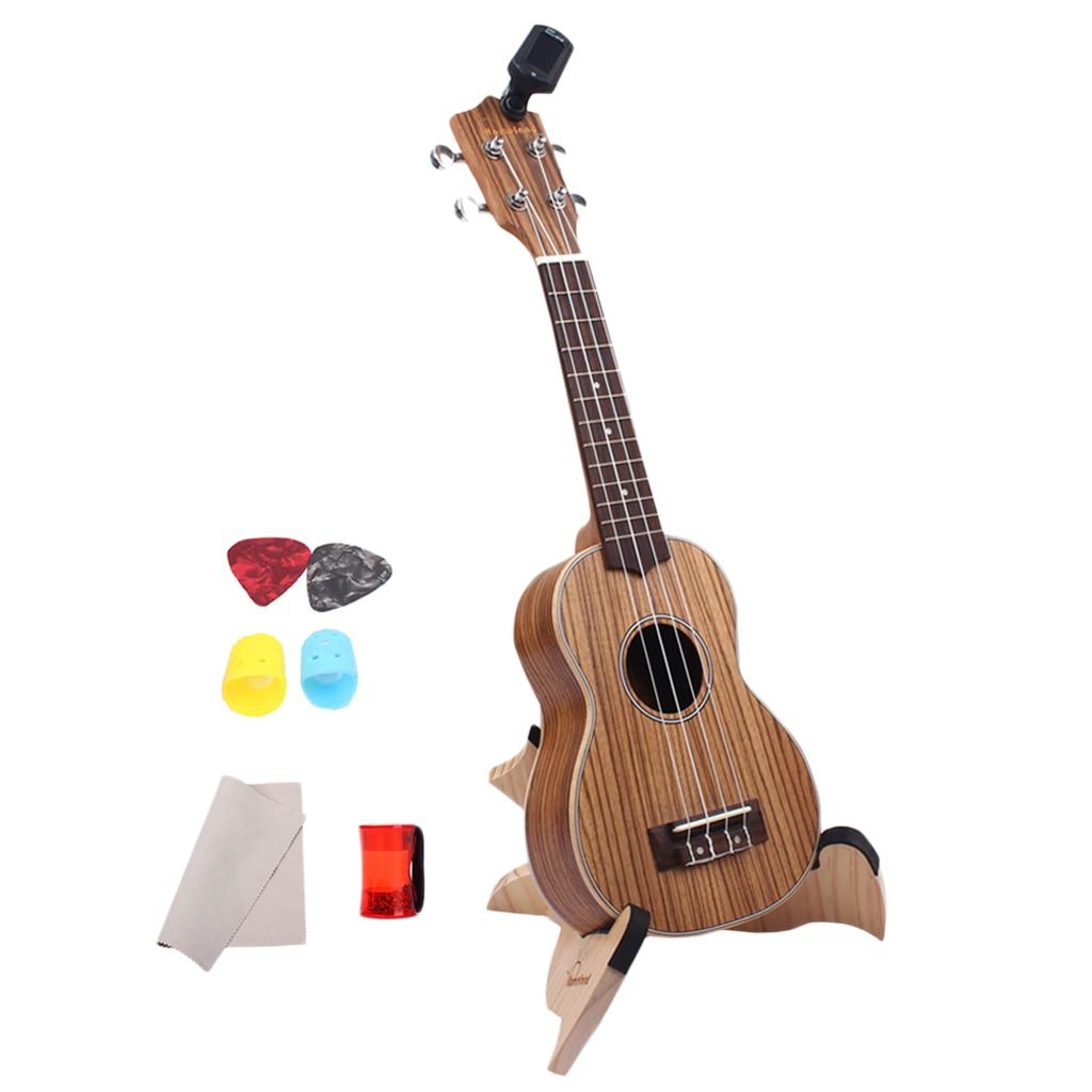 21 pouces Zebrano Stratifié Ukulélé avec Housse Tuner Sangle Sable Shaker Instrument Acoustique - 4