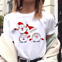 Kawaii футболка с принтом Санта Клауса свободная смешного размера
