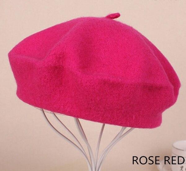 Винтажный простой берет, шапка бини, шапка во французском стиле для женщин и девочек, шерстяная теплая зимняя шапка, женские шапки, шапка уличной моды - Цвет: Rose Gold