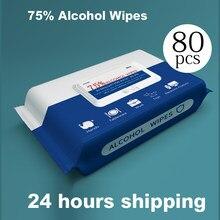 Toalhetes molhados dropshipping 75% toalhetes de álcool toalhetes molhados toalhetes de limpeza de mãos descartáveis de desinfecção por atacado
