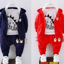 BibiCola boys clothing set spring autumn children casual coats+t-shirt+pants 3pcs tracksuits