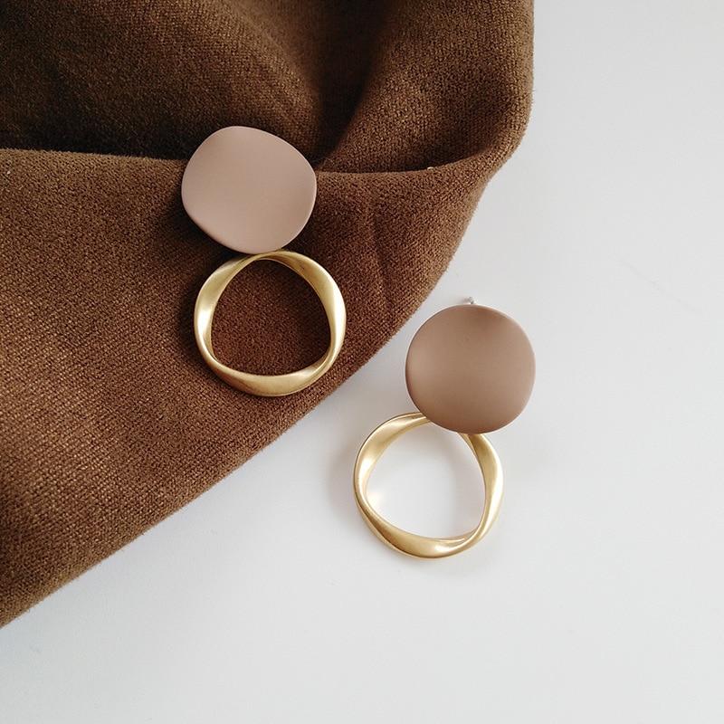 Autumn Winter New Brown Earrings Vintage Matte drop Earrings for women Metal Fashion Statement Dangle Earring 2020 Trend Jewelry