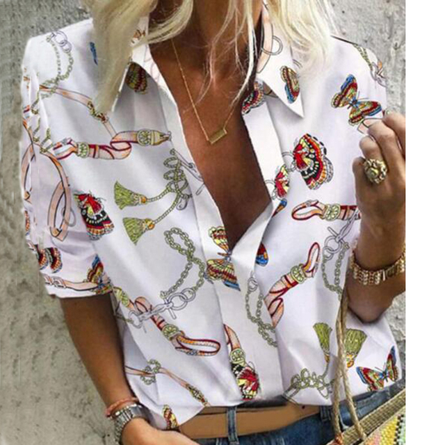 Chain Print Blouse and Shirt Women Long Sleeve Vintage Shirt Womens Tops and Blouse for Women Plus Size Top 5XL Spring 2020 2