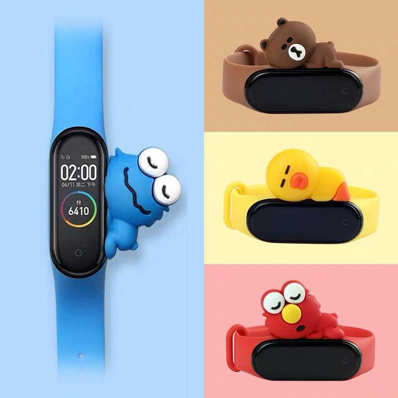 Cute band for miband 4 strap replacement silicone mi 4 band straps toy my band 3 strap for xiaomi miband 3/4 band accessories