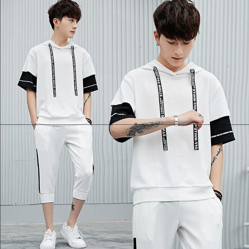 A Set Of] Men And Women Short Sleeve T-shirt Summer Trend Casual MEN'S Suit Students Sports Men'S Wear Clothes Summer Wear