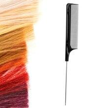 Gorąca sprzedaż Fine tooth metalowa szpilka fryzjerstwo stylizacja włosów szczur ogon grzebień czarne plastikowe drobne zęby grzebień do włosów przybory kosmetyczne nowość