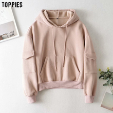 Sweatshirts Hooded Toppies Fleece Tops Pullovers Pockets Thick Fall Warm