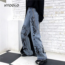 NYOOLO Vintage streetwear Madonna print Washed jeans Autumn Loose high waist full length straight denim pants women men clothingJeans