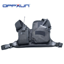 OPPXUN تسخير الصدر الجبهة حزمة الحقيبة الحافظة تحمل حقيبة ل Baofeng UV 5R UV 82 UV 9R زائد BF 888S TYT موتورولا اسلكية تخاطب