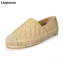 Fashion Soft Genuine Leather Women Slip On Espadrilles Woman Comfortable Round Toe Loafers Flats Ladies Casual Flat Shoes 34-42 цены онлайн