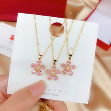 Exquisite  Gold Pink Chrysanthemum Titanium Steel  Pendant Necklace For Women Girls Fashion Personality  Necklace Jewelry недорого