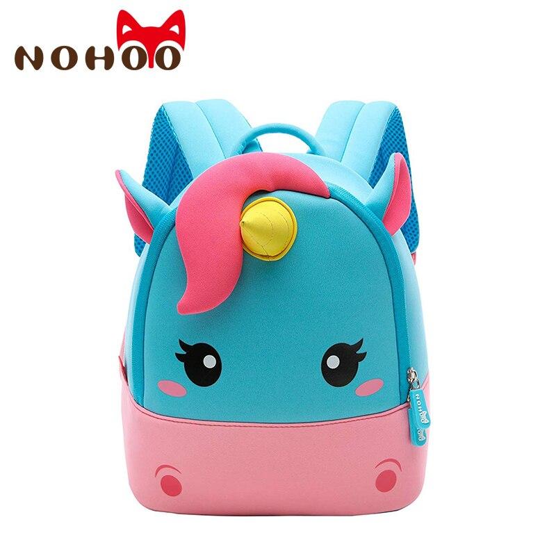 NOHOO School Bags 3D Cartoon Mini Unicorn Kids Backpack Neoprene Girls Kindergarten Waterproof Book Bag Cute Travel Kids Bag New