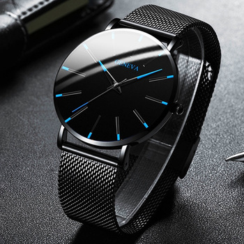 2020 moda masculina minimalista ultra fino relógios simples negócios aço inoxidável malha cinto relógio de quartzo relogio masculino