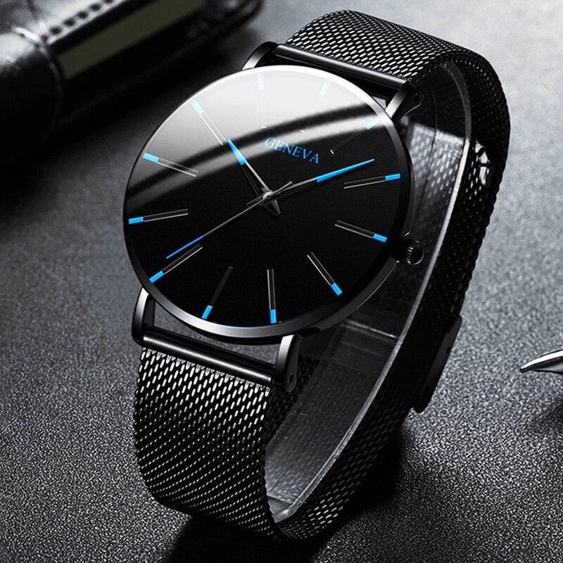 ¡Moda minimalista 2020! relojes ultrafinos para hombre, correa de malla de acero inoxidable para negocios, reloj de cuarzo, reloj Masculino