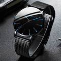 2021 Minimalist Männer der Mode Ultra Dünne Uhren Einfache Männer Business Edelstahl Mesh Gürtel Quarzuhr relogio masculino