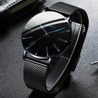 2021 Minimalistische Mannen Mode Ultra Dunne Horloges Eenvoudige Mannen Business Roestvrijstalen Gaas Riem Quartz Horloge Relogio Masculino