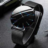 Relojes ultrafinos de moda minimalista 2020 para hombre, Simple, de acero inoxidable, de negocios, con correa de malla, reloj de cuarzo, reloj Masculino
