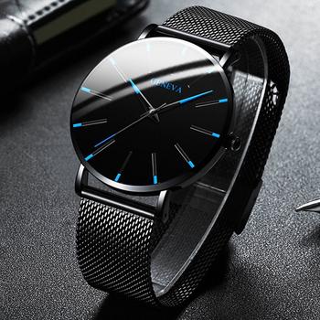 Ultracienki zegarek kwarcowy pasek z siatki ze stali nierdzewnej proste męskie zegarki biznesowe minimalistyczna moda męska 2020 tanie i dobre opinie DIJANES 23cm Moda casual QUARTZ Nie wodoodporne Klamra CN (pochodzenie) STAINLESS STEEL 10mm Hardlex Kwarcowe Zegarki Na Rękę