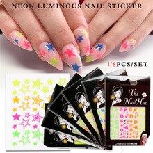 1pc 3d estrelas splatter néon luminosa adesivo decalque glitter etiqueta do prego arte do prego ultra-fino adesivos manicure decoração