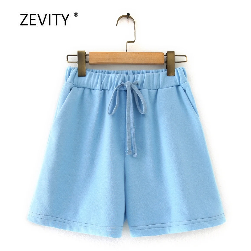 Zevity New 2020 women solid color pocket casual knitted hot Shorts lady chic elastic waist lace up shorts pantalone cortos P866 1