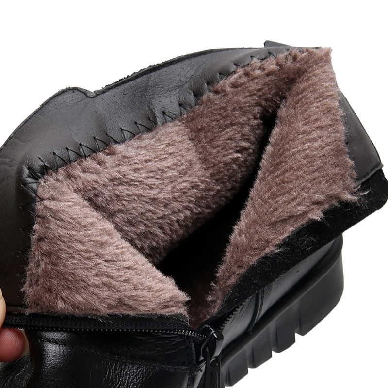 TEXIWAS Fashion Echtes Leder Stiefel Für Frauen Flache Stiefeletten Frauen Stiefel Winter Schwarz Braun Schuhe