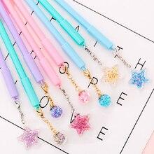 4pcs/lot Kawaii Star Pendant Gel Pens 0.38mm Black Ink Pen Creative Girl Gift Student School Office Cute Stationary Supplies