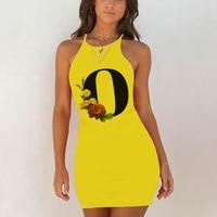 Sexy Nightwear Sleepwear Nightgown Night Shirts Summer Women 26 English Alphabet Print Pack Hip Nightie Yellow Night Dress 3